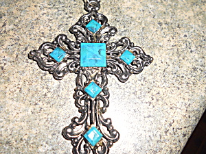 Vintage Cross Necklace Faux Turquoise 24 inch (Image1)
