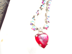 Rhinestone Necklace Red Heart Silver Tone