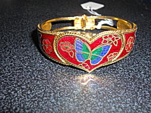 Vintage Hinged Bracelet Heart Butterfly  (Image1)