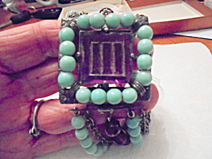 Art Deco Beaded Bracelet cut Amethyst Glass  (Image1)