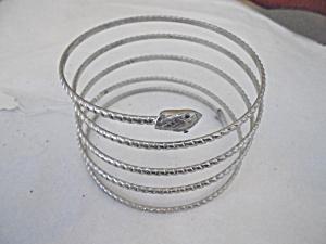 Snake Bracelet Silver Tone Coil (Image1)