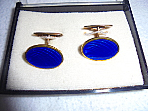 Blue Psychedelic Cuff Links Gold Tone Boxed