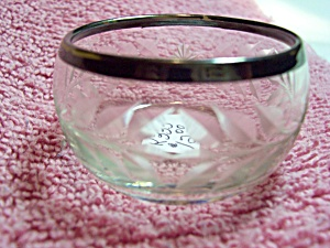 Etched Glass Silver Rim Salt Cellar (Image1)