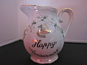Lefton China Creamer Pitcher Happy Anniversary