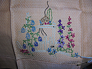 Vintage Floral Embroidered Doily 19 by 14  (Image1)