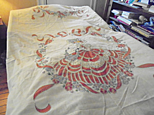 Linen Bedspread Embroidered Pieced Lady Motif (Image1)