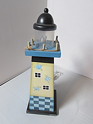 Wooden Hand Painted Lighthouse Lamp 14 Inch Tall