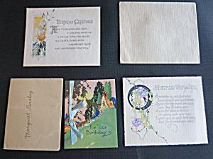 Birthday Card lot of three Art Deco period 1920s 1930s (Image1)