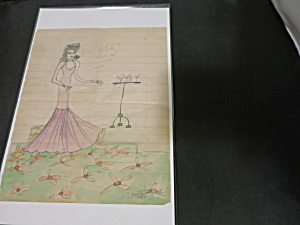 Childs Art Drawing Water Color 1935 Signed Abrans