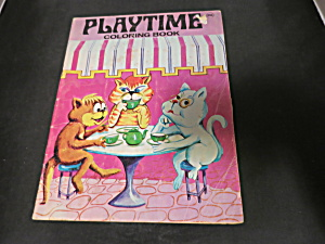 Vintage Playtime Coloring Book Three Cats Tea 1950s