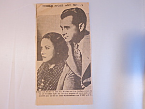 Fibber Mcgee And Molly Newspaper Article Circa 1941