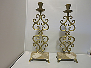 Made in Israel Brass Marble Footed Candlesticks pair (Image1)