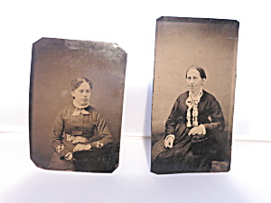 Ferrotype Tintype Photograph Woman Sitting And Young Lady Sitting