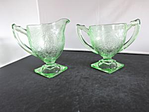 Indiana Glass Horseshoe Creamer and Sugar Bowl Uranium Green  (Image1)
