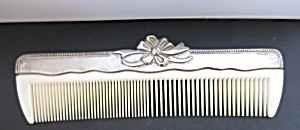Silver Plated Comb With Lucite Plastic Teeth Floral Ribbon Ornate