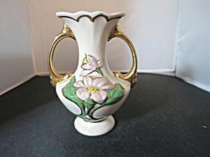 Hull Vase Water Lily Double Handle Marked H 2 5 1/2