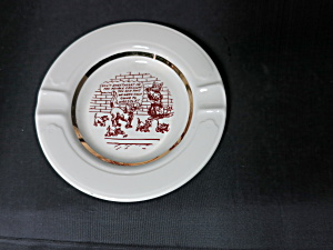 Vintage Cat Kitten Comic Ashtray with gold trim (Image1)