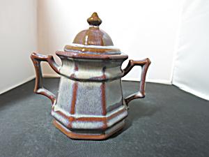 Pittsfield Potters VT Brown Mocha Washed Paneled Sugar Bowl (Image1)