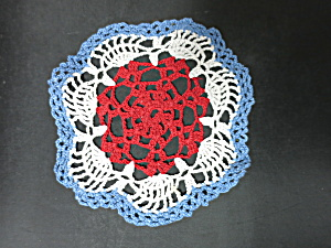 Vintage Crochet Lace round Doily 8 inch red white blue patriotic (Image1)