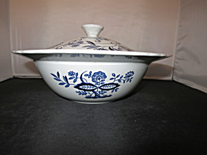 Enoch Wedgwood Tunstall Blue Heritage Covered Bowl Blue Onion