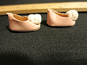 Vintage Doll Accessories Doll Shoes Pink Oil cloth white pom pom (Image1)
