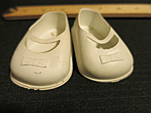 Vintage Doll Accessories Doll Shoes White Mary Jane 8T USA (Image1)