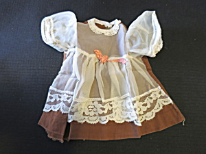 Antique Doll Dress with sheer overlay and hand tatted lace trim  (Image1)