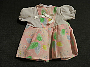 Vintage Doll Dress Pink with Leaves Adorable  (Image1)