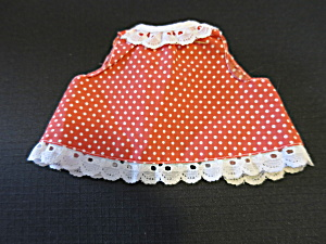 Vintage Doll Dress Red with White Polka Dots eyelet lace trim (Image1)