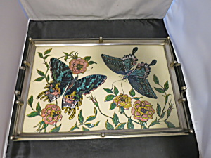 Butterfly Foil Art Tray best guess circa 1940s  (Image1)