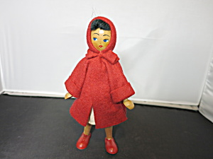 Red Riding Hood Wooden Doll Red Felt Outfit Poland