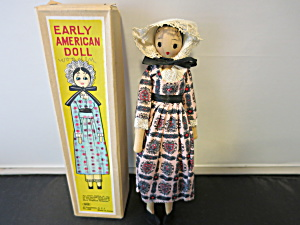 Early American Doll Wooden 1960s In Box
