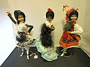 Spanish Dancer Doll Trio 3 With The Stands