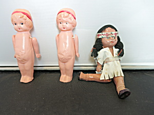 Celluloid Doll Lot Of Three Doll House Dolls Japan