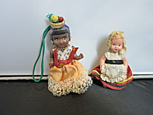 Vintage Hard Plastic Doll 1950s Pair 3 And 4 Inch Dolls