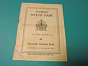 Program Vermont State Fair 1913 7th fair (Image1)
