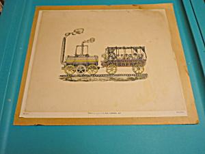 Vintage Steam Train Engine Print 1949 Baruch (Image1)