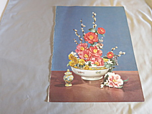 Rose Pussy Willow Bouquet Lithograph Book Print 1950 (Image1)