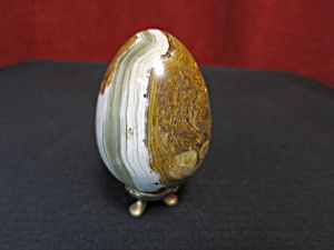 Vintage Polished Onyx Banded Gemstone Egg (Image1)