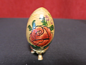 Hand Painted Floral Abstract Egg Turned Wood