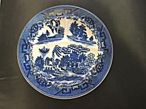 Moriyama Blue Willow Divided Grill Plate Japan flow blu (Image1)