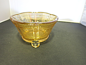 Marigold Carnival Glass Footed Bowl Candy Dish 5 Inch
