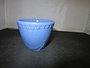 Antique Blue Stoneware Custard Cup ornate (Image1)