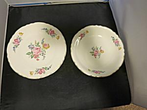 Vintage Rose Floral Patttern Soup Bowl and Plate (Image1)