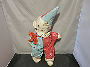 Vintage Stuffed Oil Cloth Clown Doll 1940s 16 inch (Image1)
