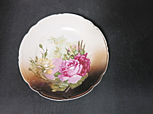 Antique Germany Bread Plate Rose Floral 6 3/8 Inch