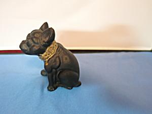 Bull Dog Figurine Black Molded Cast Metal 1960s (Image1)