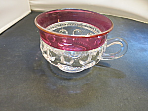 Kings Crown Ruby Red Flash Thumbprint Punch Cup