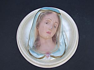 Virgin Mary Madonna Chalkware Wall Plaque (Image1)