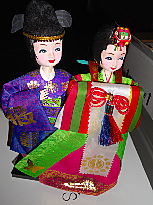 Oriental Doll Pair On Stand 10 Inch